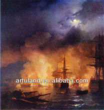 Sea Ship battle painting/sea wave painting