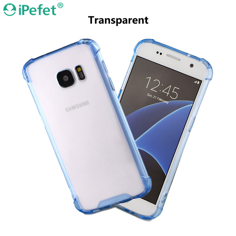 Soft TPU fame and hard transparent acrylic Mobile Phone Accessories Guangzhou For Samsung S7