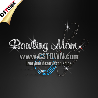 Rhinestone Motif Bowling Mom Hot fix Motif Wholesale