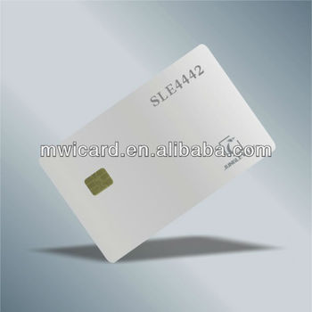 Smart card SLE4442 with 2 Hico rack magnetic strip in white silver gold ic card