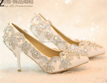 OW14 New design Wedding shoes crystal low heel shoes
