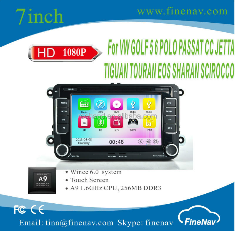 "7"" Car Radio Interface Wince 6.0 for VW Golf 5 6 Passat CC Tiguan etc. with Gps Navi,3G,Wifi,Bluetooth,Ipod Support DVR"