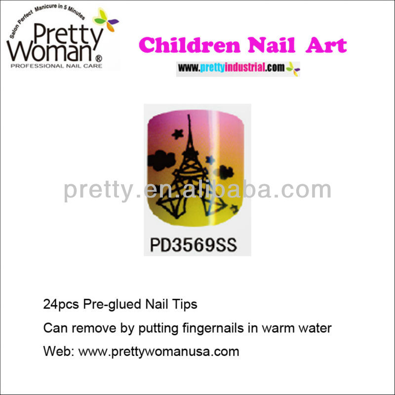 Fashion Eiffel Tower Design Nail Art Tips 24pcs Pre-glued False Nails for Kids