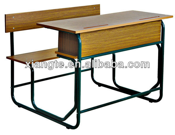 Popular double desk and chair unit, school furniture, student table and bench set