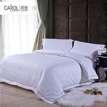 White hotel egyptian cotton bed linen hotel cotton bed sheet in China jacquard 60x40s 300TC