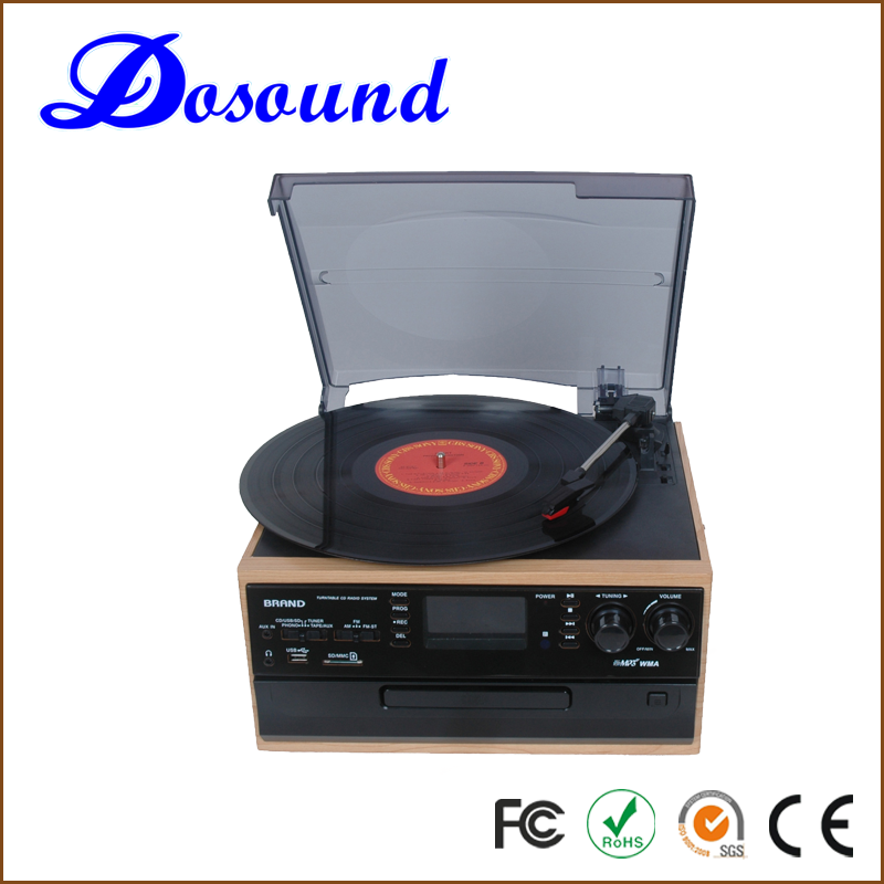 Wholesales OEM&ODM Available 6-In-1 classic wooden vinyl turntable record player