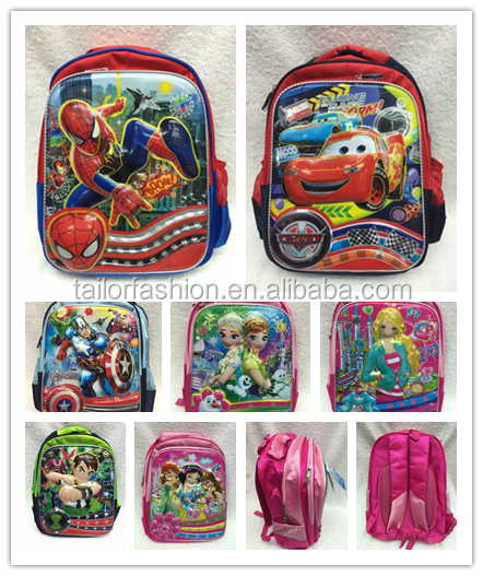 TF-Y02160517006 2016 hot sale 17-inch 6D spiderman cars frozen children school bags kids backpack for kids