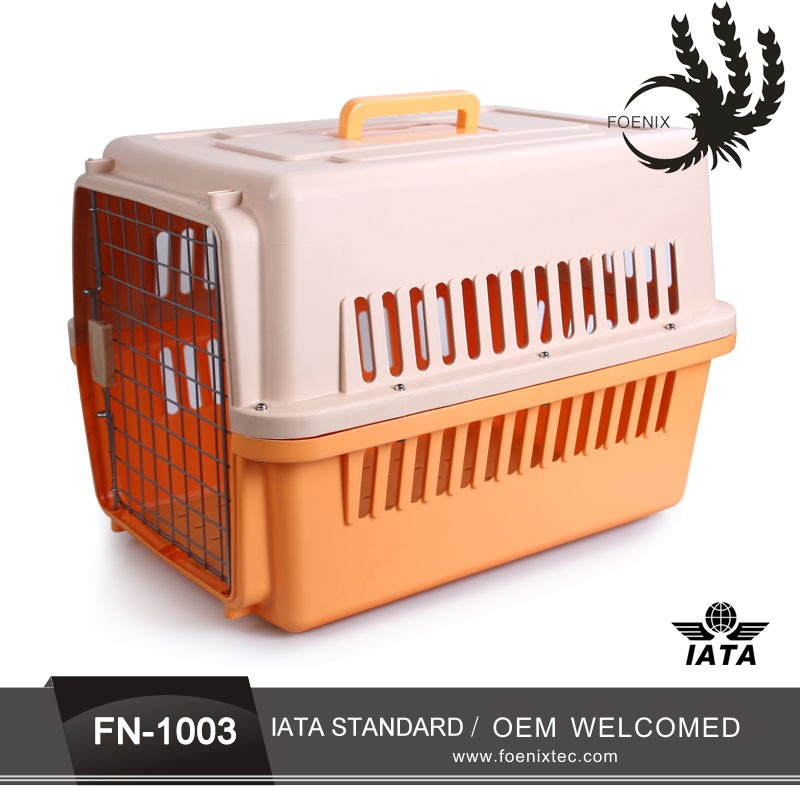 Hot sale plastic flight pet carrier 6 sizes plastic dog crate dog house kennel