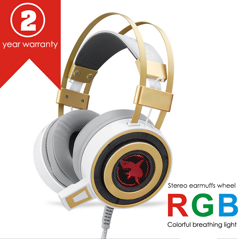 2 Years warranty 4D stereo headphone led Vibration wire headset for computer gaming and vedios