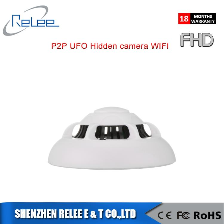 2017new! ip camera hidden poe pinhole smoke detector wireless hidden 1080P UFO camera