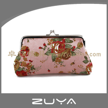 Portable small gift rose flower fabric lady coin purse