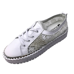 stylish genuine leather mesh flower rhinestone star ladies casual shoes lace-up platform