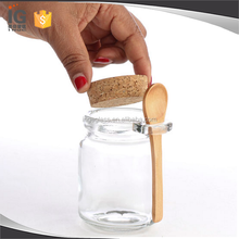 240mL Clear Glass Jar with Cork Lid & Wood Spoon