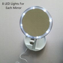 360 Rotation Cosmetics Mirror Table Makeup LED Lights Ladies Mirror Two Sides Dual-Faced Mirror
