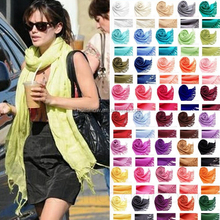 Wholesale Fringed 70% Pashmina 30% Silk Solid Color Plain Lady Scarf