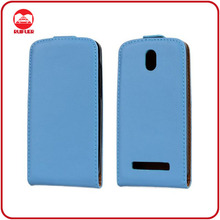 China Manufacturer Classic 100% Genuine Real Leather Flip Case for HTC Desire 500