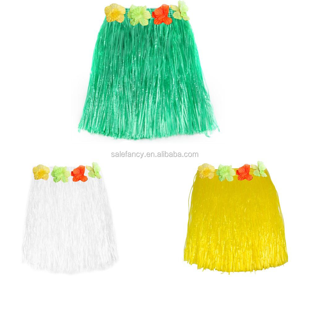 Fashion Hawaiian Grass Hula Skirt Luau with Flowers Costume QHGD-0119
