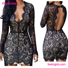 2016 High Quality Black Sexy Deep V Neck Backless Lace Vintage Dress