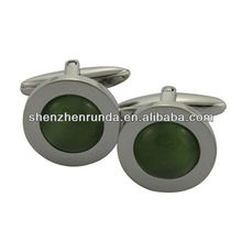 Wholesale glamour steel cufflinks green diamond cufflinks Oval Stainless Steel Cuff Links Manufacturer & Factory & Supplier
