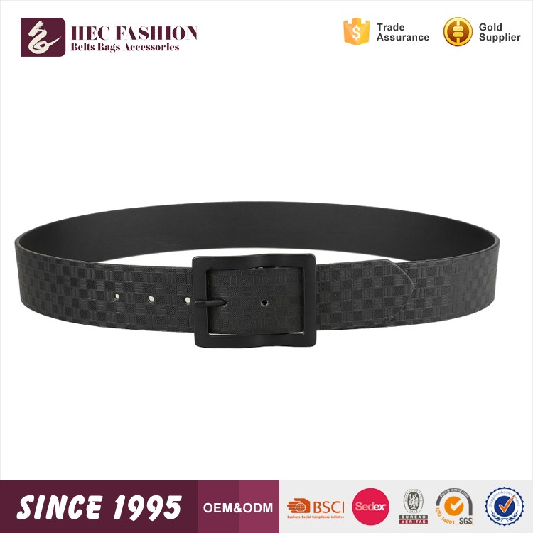 HEC New Product Fashion Custom Black Brown Grid Pure PU Leather Men Belt