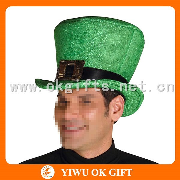 Green glittery St patricks hats, adult party hats, flat top fedora hat