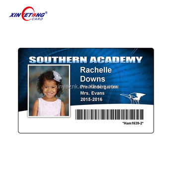 watermark plastic ID card for student