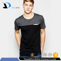 Daijun oem fashion men o neck short sleeve low prices 65 polyester 35 cotton pocket t shirt