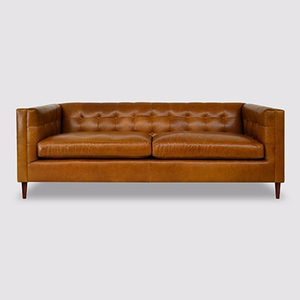 High Back Button Tufted Chesterfield Genuine Leather Sofa Couches For Sale
