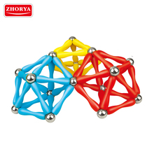 Zhorya kids magnetic connect balls and sticks interlocking construction educational toys