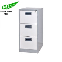 Office metal 3 drawer vertical movable storage filing cabinet