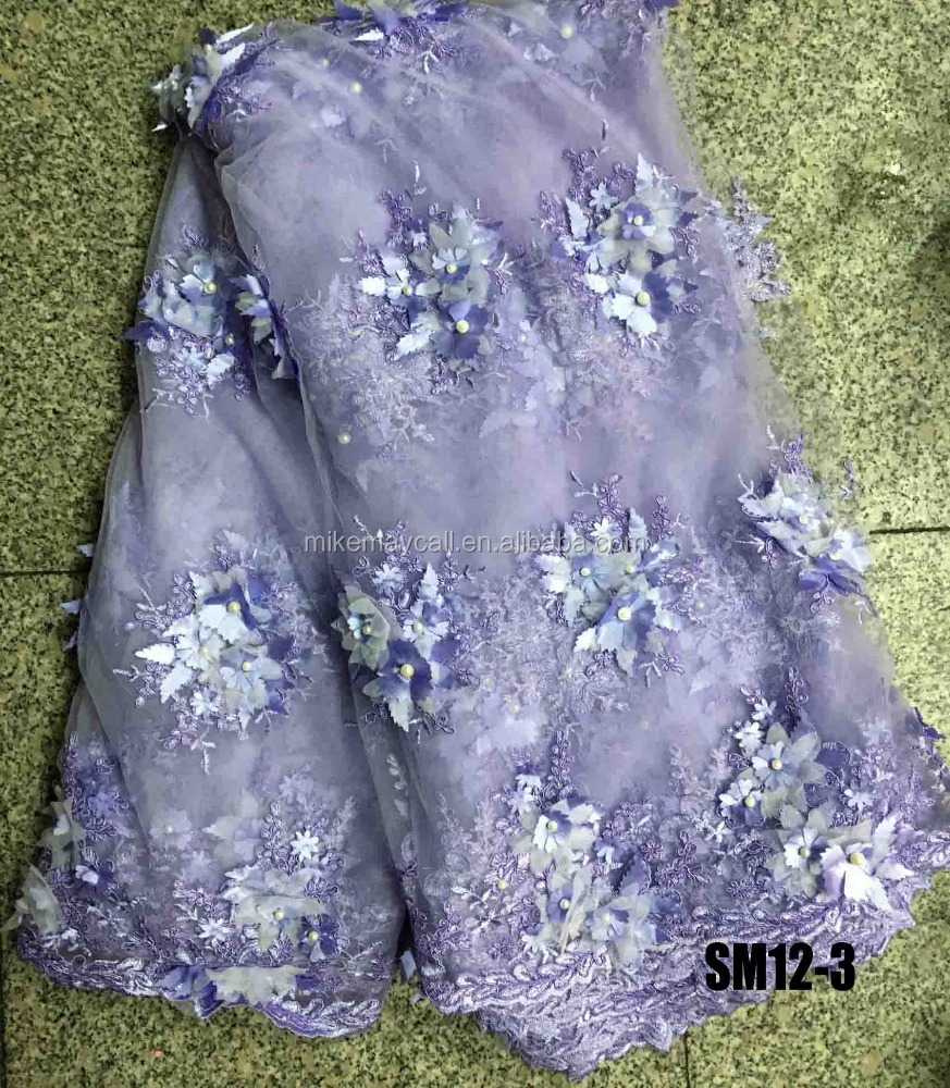 SM12-3 Shipping fast and soft polyester 3d beaded lac embroidery big flower