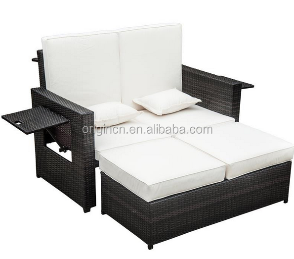 Stylish home small terrace rattan sunbathing chair bed outdoor used contemporary furniture