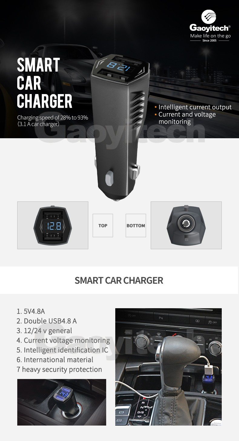 Dual USB Smart IC Car Charger with LCD display
