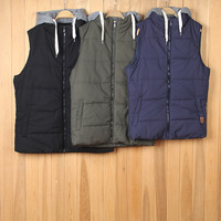 Stock High Quality Casual 100% Cotton Wholesale Hooded Men's Waistcoat Cotton Vest