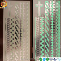 cross ribbon design fake foil glow in the dark noctilucence temporary tattoo sticker