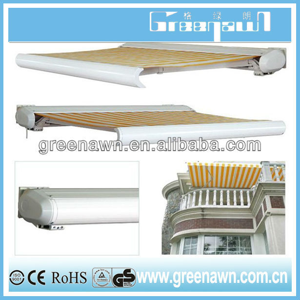 full cassette motorized retractable awning/folding arm awning/motorised awning