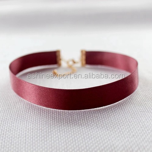Various colors available 1.5cm wide Silk Ribbon Choker Necklace