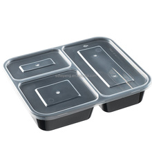 32 oz Clear Plastic food Container with 3 Compartment Black Insert Tray and Clear Lid