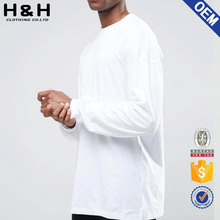 long sleeve 100% combed cotton white tee shirt