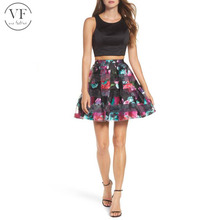 sexy mini skirt pictures women Printed Skirt Two Piece Fit Flare Dress mini skirt