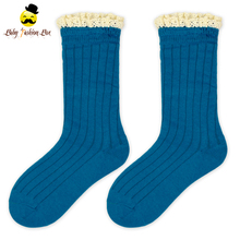 15WZA014-15 Yihong Plain Design Winter Lace Cuff ankle fuzzy socks Cute Baby Socks Bright Colored Baby Keeps Sock