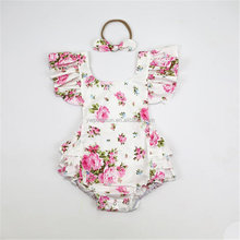 Adorable flutter sleeve flower baby romper boutique outfit