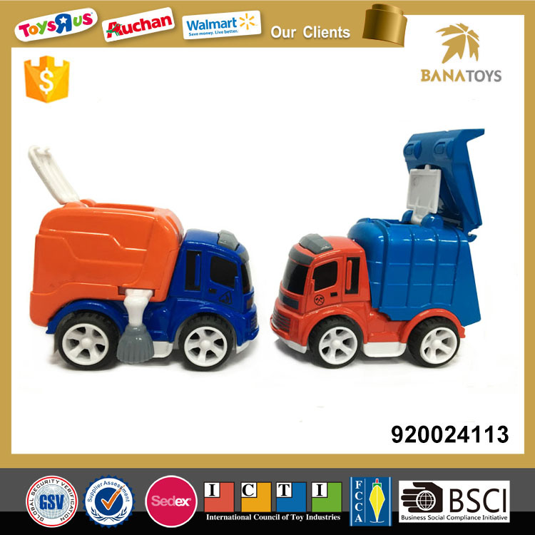 Cartoon friction small garbage truck toy