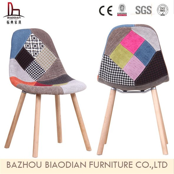 8056EB Excellent Quality Useful Wooden Legs Dining Chair Classic Barber Decoration Plastic Seat Chair