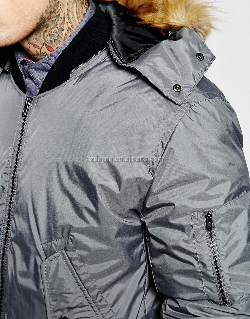 Guangzhou OEM winter 100 polyester zip up two pockets men with hood gray goose down jacket