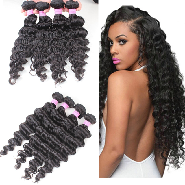Permanent curl natural color deep wave virgin peruvian hair bundles