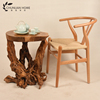 Custom-made wooden root carving wood tea bedside table