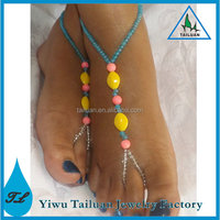 2014 Fashion Design Anklet Handmade Colorful Beaded Barefoot Sandals