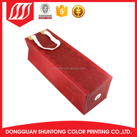 Cheap small red color satin ribbon bottle paper wine bag