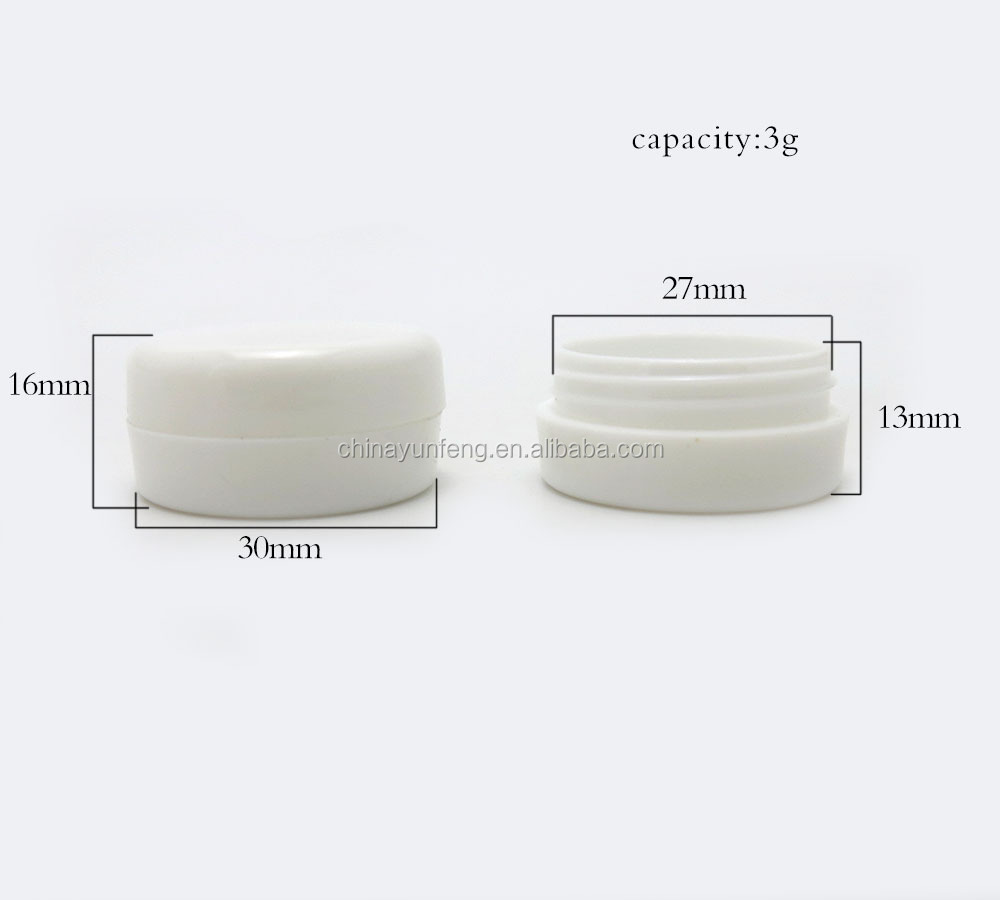 3g white plastic small cream jar